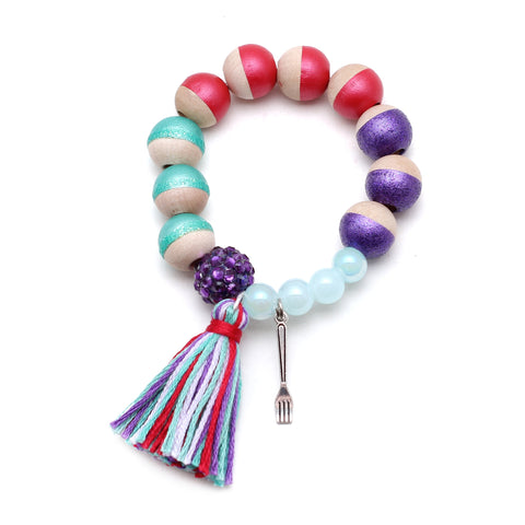 Ariel Inspired Charm and Tassel Hand Painted Bracelet