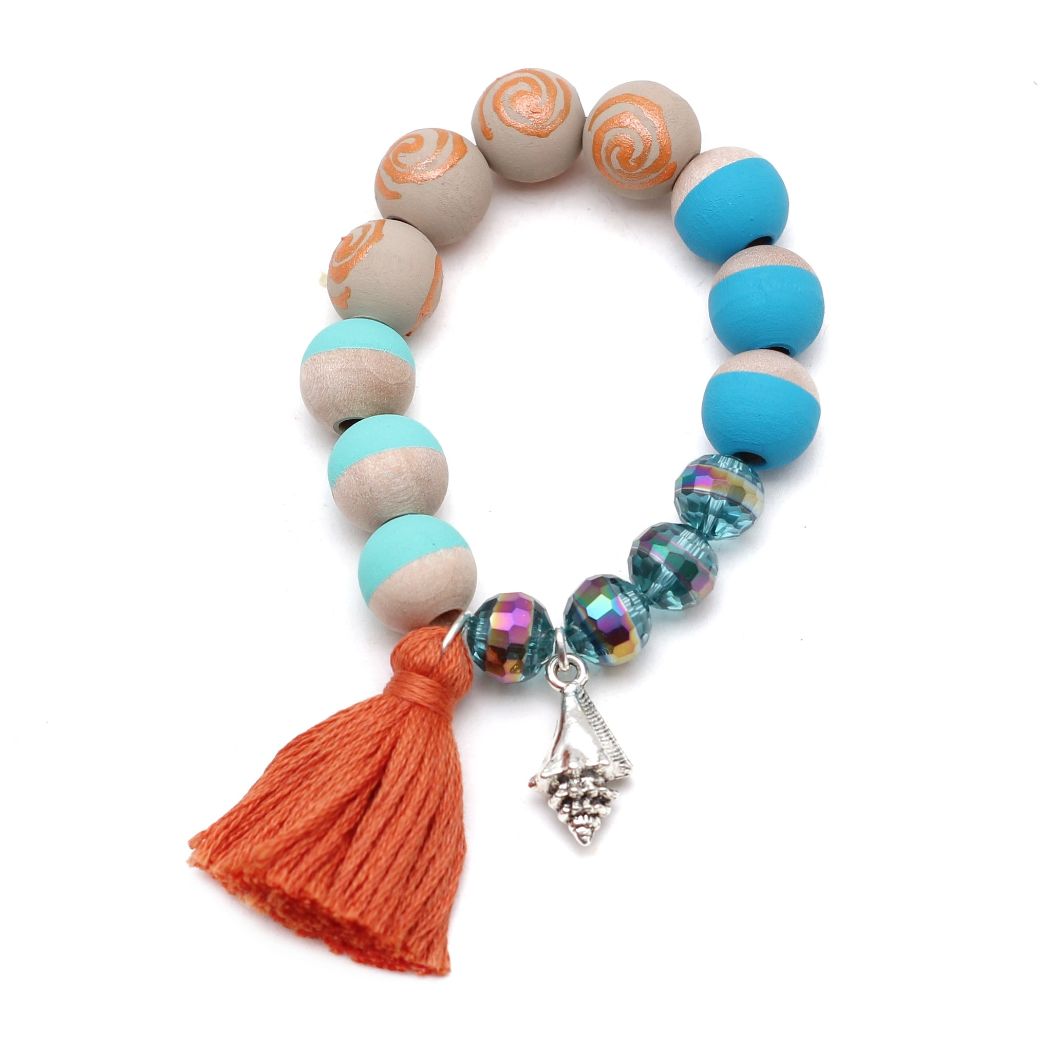 Moana Inspired Charm and Tassel Hand Painted Bracelet