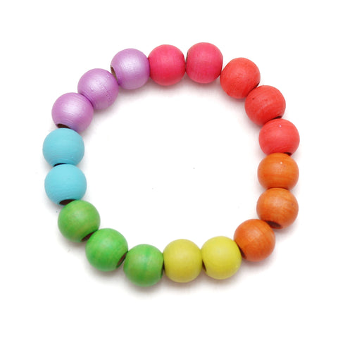 Neon Rainbow Petite Beads Hand Painted Wood Bead Bracelet
