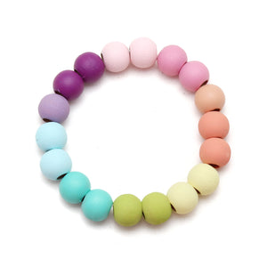 Light and Bright Rainbow Petite Beads Hand Painted Wood Bead Bracelet
