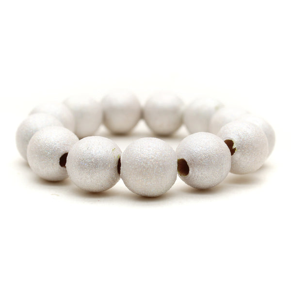 Pearly White All That Glitters Hand Painted Bracelet
