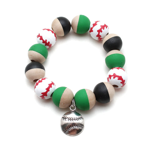 Customizable Baseball or Softball Charm Hand Painted Bracelet for Boys