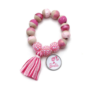 Barbie Inspired Charm and Tassel Hand Painted Bracelet