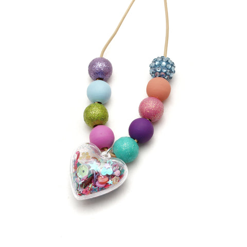 Heart Shaker Hand Painted Necklace