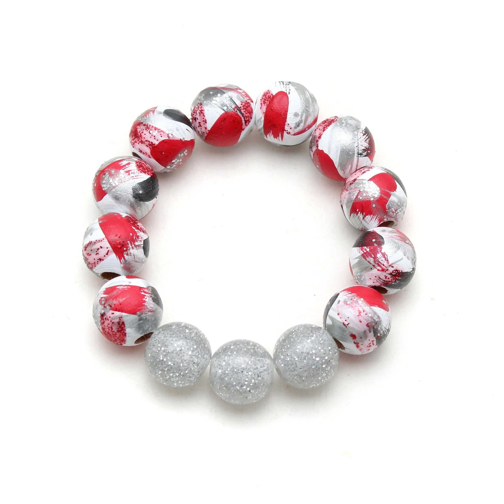 Red Minnie Inspired Brush Strokes Hand Painted Bracelet