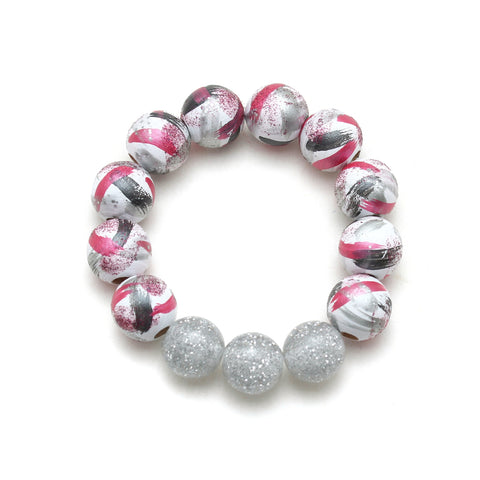 Pink Minnie Inspired Brush Strokes Hand Painted Bracelet
