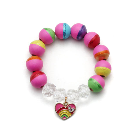 Rainbow Heart Charm Hand Painted Bracelet - Winter