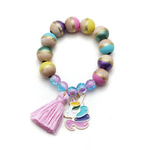 Unicorn Charm and Tassel Hand Painted Bracelet
