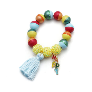 Happy Charm and Tassel Hand Painted Bracelet