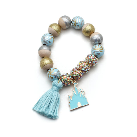 Castle Charm and Tassel Hand Painted Bracelet
