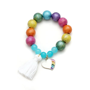 Rainbow Heart Charm and Tassel Hand Painted Bracelet
