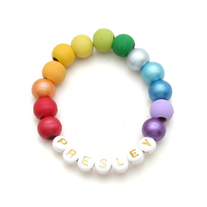 Rainbow Personalized Petite Beads Hand Painted Wood Bead Bracelet