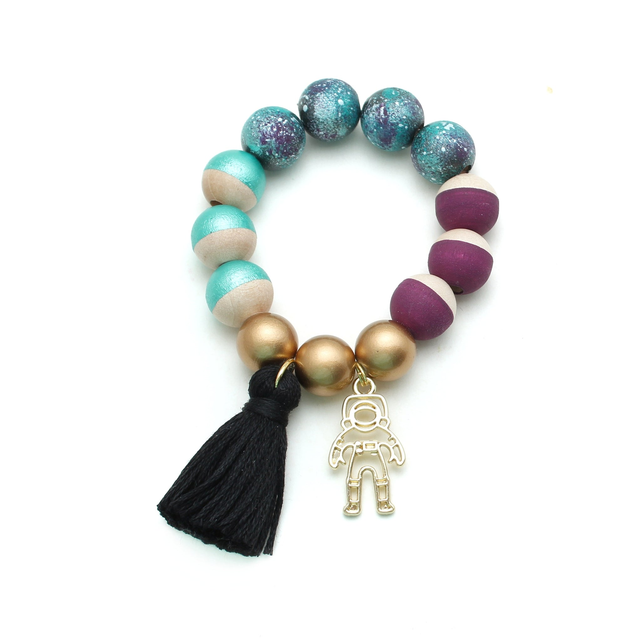 Astronaut Charm and Tassel Hand Painted Bracelet