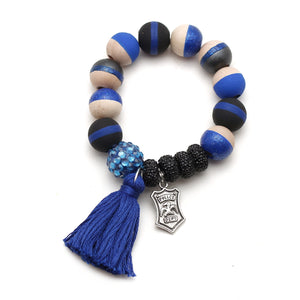 Police Charm and Tassel Hand Painted Bracelet