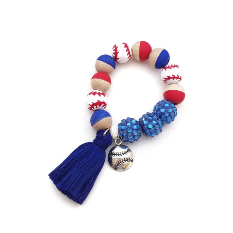Customizable Baseball Charm and Tassel Hand Painted Bracelet