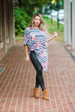 Floral Stripe Shark Bite Tunic