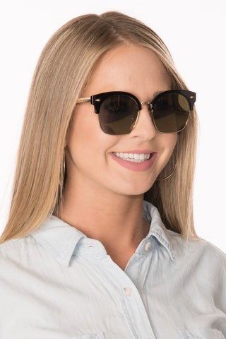 Browline Sunglasses - Black/Black Lens