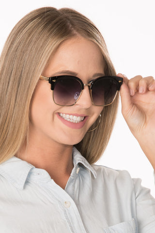 Browline Sunglasses - Black/Mirror Lens