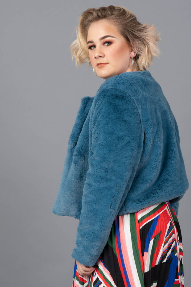 Crowd Pleaser Faux Fur Jacket-Plus