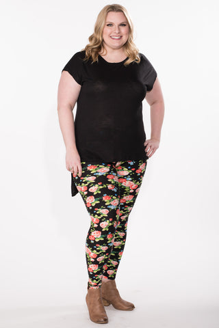 Floral Print Leggings - Plus