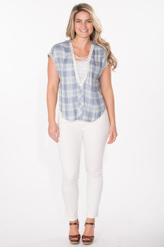 Plaid Lace-Up Top
