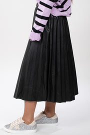 Midnight Magic Pleated Faux Leather Skirt