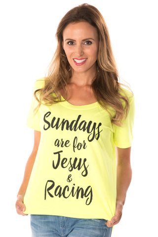 Sundays, Jesus, Racing Tee - Neon Yellow
