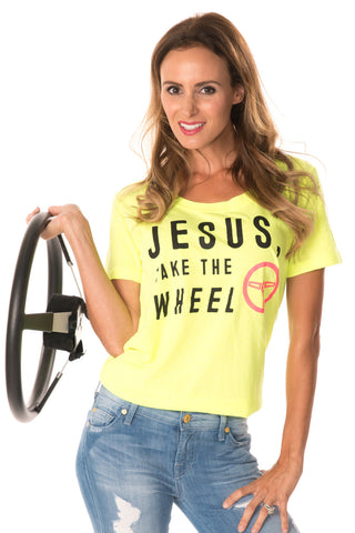 Jesus Take The Wheel Tee - Neon Yellow