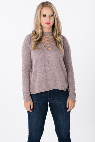 Lace Up Brushed Sweater