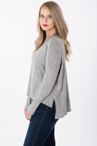 Mock Neck Ribbed Sweater