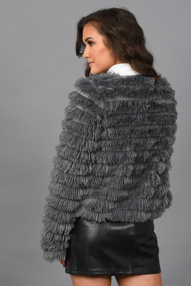 Look At Me Now Faux Fur Jacket-Grey