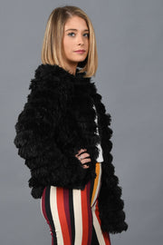 Look At Me Now Faux Fur Jacket-Black
