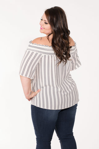 Striped Off-The-Shoulder Top - Plus