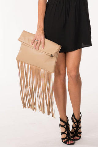 Tan Fold-Over Clutch