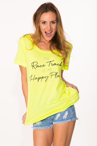 Race Track Tee - Neon Yellow