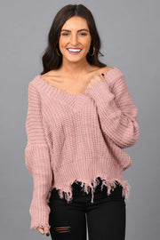 Don't Say Anything Sweater-Mauve