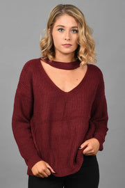 Cutting Ties Sweater-Burgundy