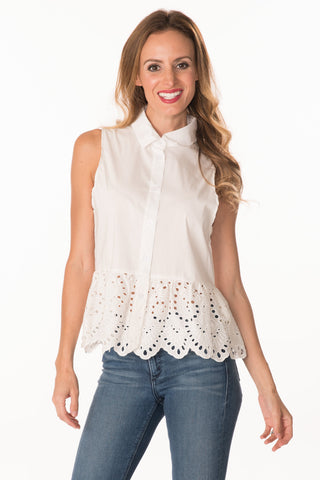 Eyelet Peplum Top