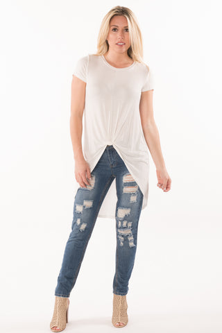 Knot Front Hi-Lo Tee