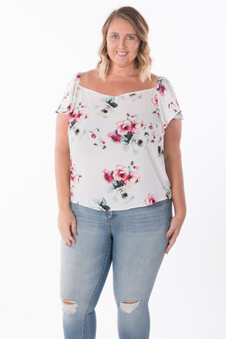 Floral Ruffle Sleeve Top - Plus