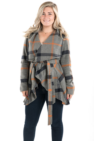 Plaid Wrap Coat