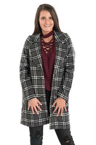 Plaid Button Coat
