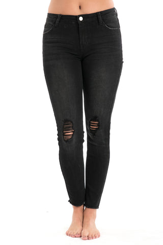 Distressed High Rise Skinny Jeans
