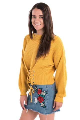 Waist Lace-Up Sweater