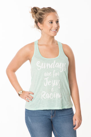 Sundays, Jesus, Racing Tank - Mint