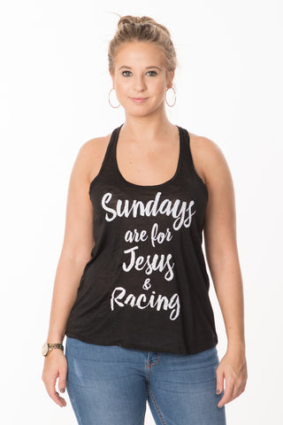 Sundays, Jesus, Racing Tank - Black