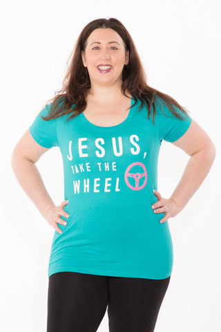Jesus Take the Wheel Tee - Plus - Teal