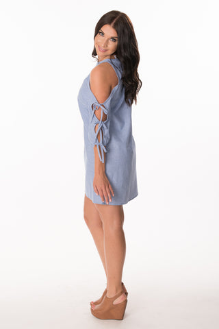 Tie-Sleeve Chambray Stripe Dress