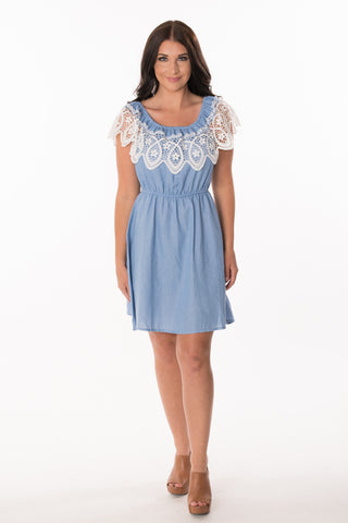 Crochet Trim Chambray Dress