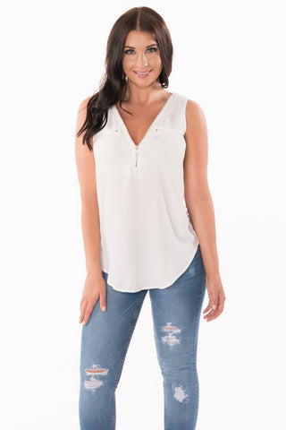 Zipped Up Sleeveless Top